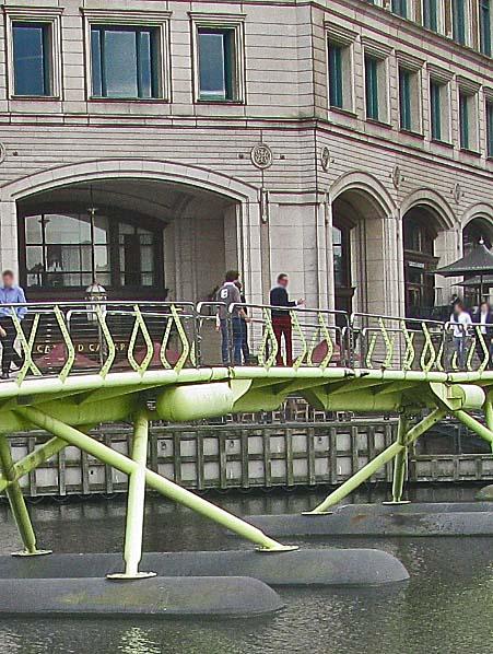 West India Quay Floating Bridge Canary Wharf London Uk